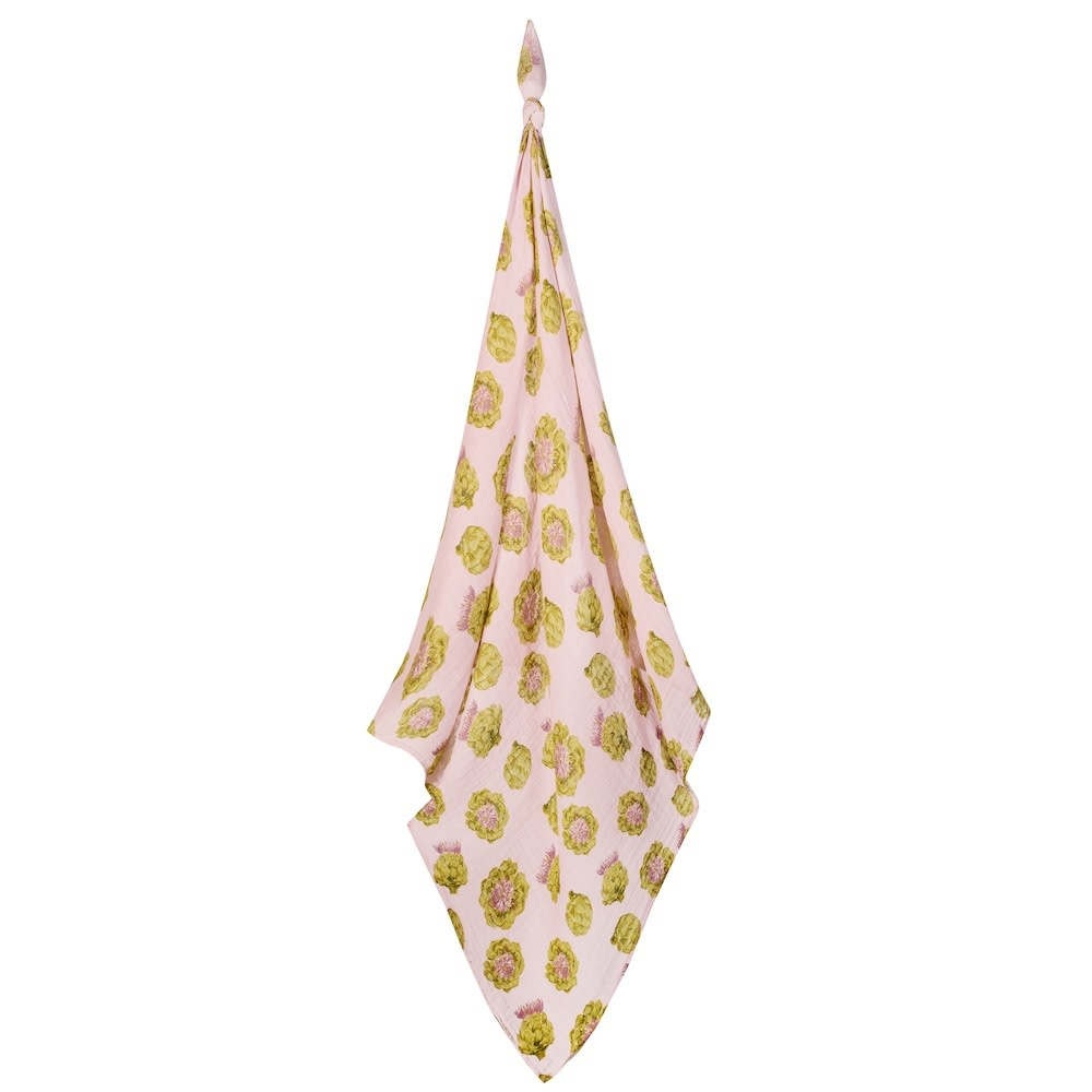 Milkbarn Organic Swaddle Blanket Green Artichoke