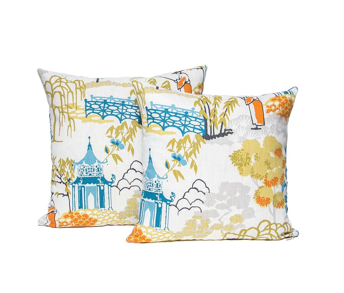 Kreatelier Chinoiserie Pillow  in Multi 16 x 16in