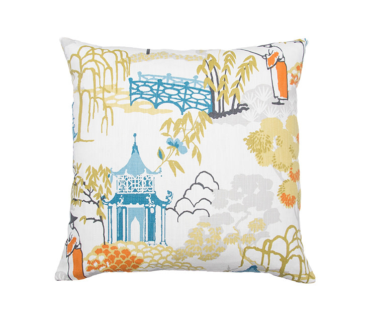 Kreatelier Chinoiserie Pillow in Multi 18 x 18in