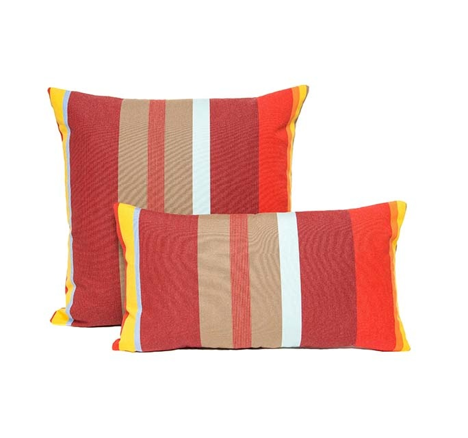 Kreatelier Summer Stripes Pillow in Reds 10 x 18in