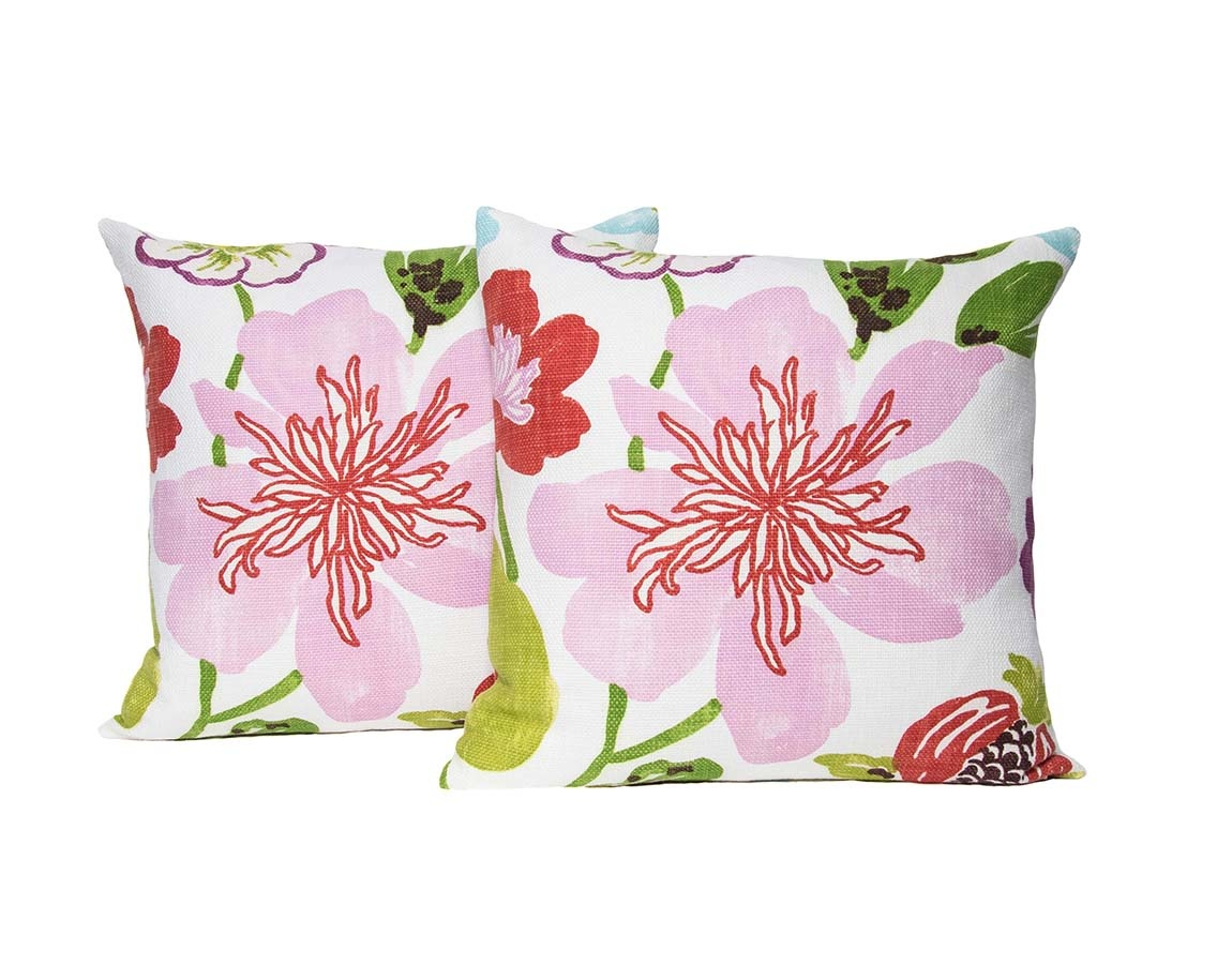Kreatelier Floral Pillow in Pinks 18 x 18in