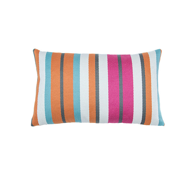 Kreatelier Stripe Pillow in Oranges and Pinks 10 x 16in