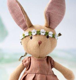 Hazel Village Stuffed Animal Juliette Rabbit in Linen Dress and Crown