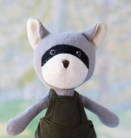 Hazel Village Stuffed Animal Max Raccoon in Picnic Overalls