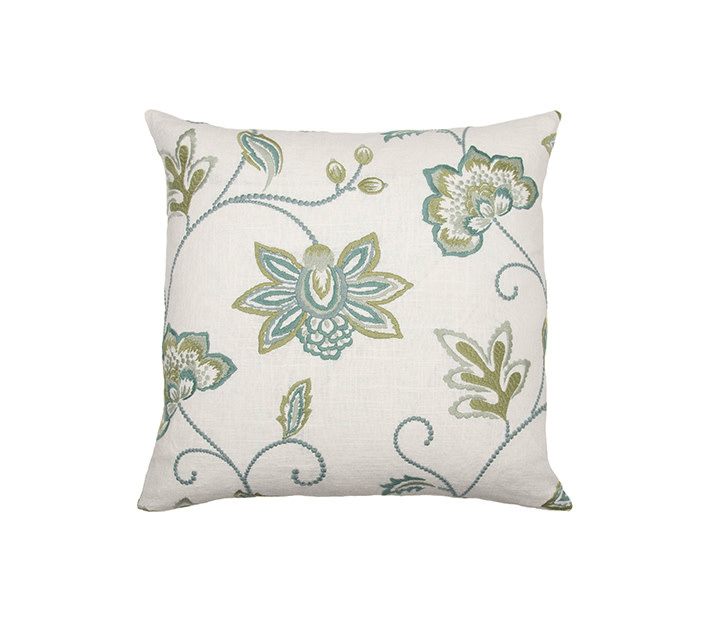 Kreatelier Embroidered Floral Pillow in Green and Blue 18 x 18in