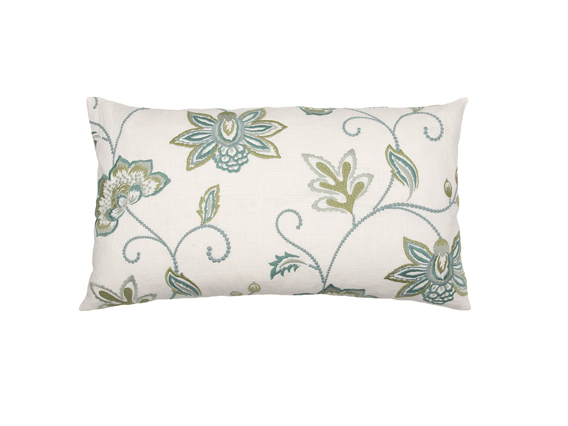 Kreatelier Embroidered Floral Pillow in Green and Blue 14 x 25in