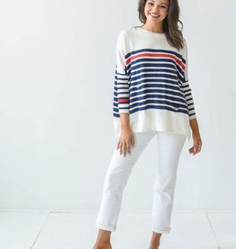 Mer-Sea & Co Catalina Travel Sweater in Navy and Red Stripes