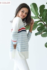Mer-Sea & Co Catalina Sweater in Sky and Red Stripes