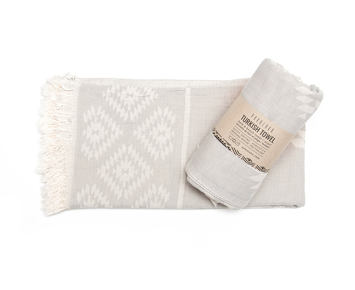 Pokoloko Turkish Towel Geometric Pebble Grey