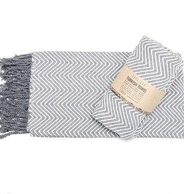 Pokoloko Turkish Towel Large Fishbone Grey