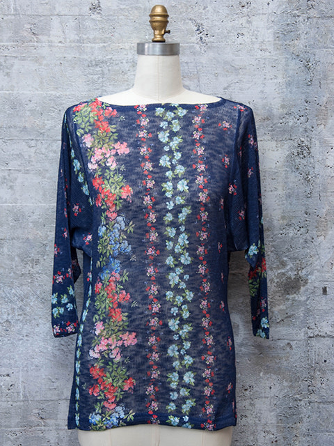 Nally and Millie Dolman Sleeve Floral Knit Top O/S