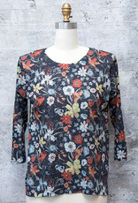 Nally and Millie Floral Top Black Multi