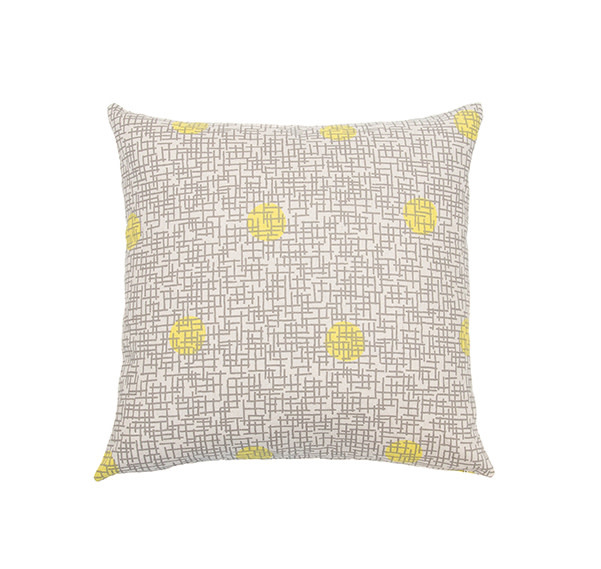 Kreatelier Grid with Dots Pillow in Gray and Yellow 18 x 18in