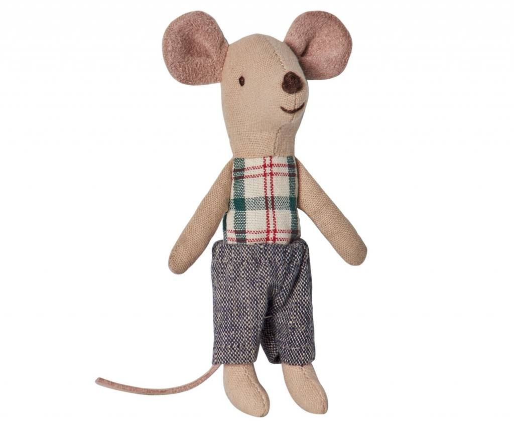 Maileg Mouse Little Brother Plaid Shirt in Box