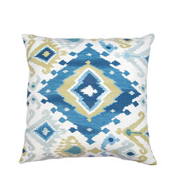 Kreatelier Ikat Pillow in Blues and Greens 17 x 17in