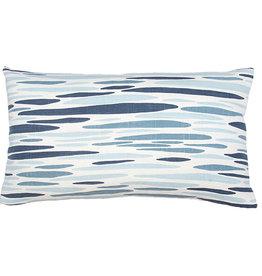 Kreatelier Abstract Stripe Pillow in Blue 14 x 24in