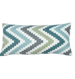 Kreatelier Chevron Pillow in Blues and Back in White 10 x 20in