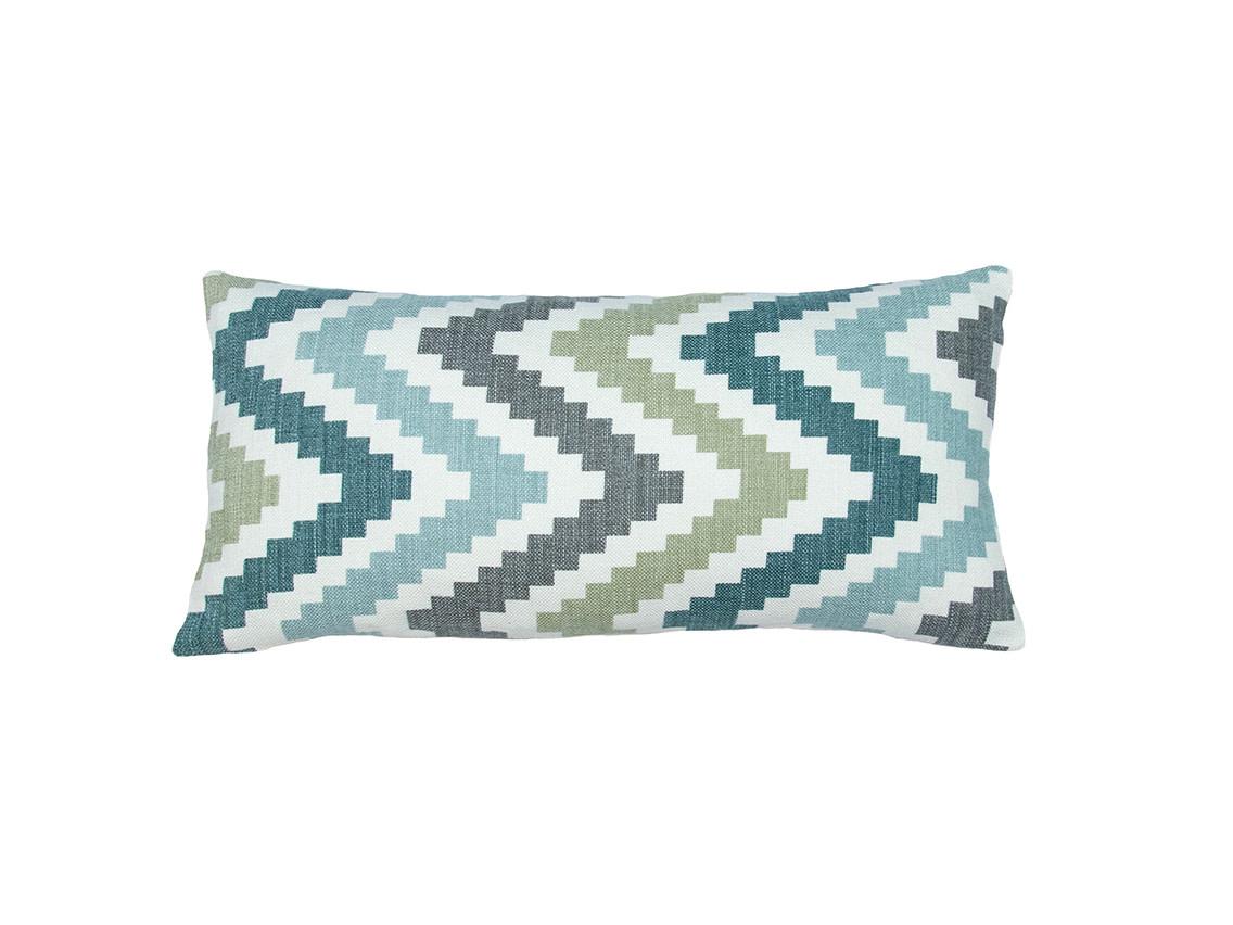 Kreatelier Chevron Pillow in Blues and Back in Grey 10 x 20in