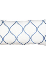 Kreatelier Ogee Pillow in White and Blue 10 x 20in