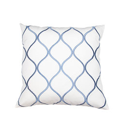 Kreatelier Ogee Pillow in Blue and White 18 x 18in