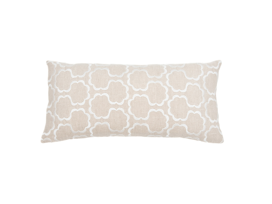 Kreatelier Cloud Embroidery Pillow in Linen 10 x 20in