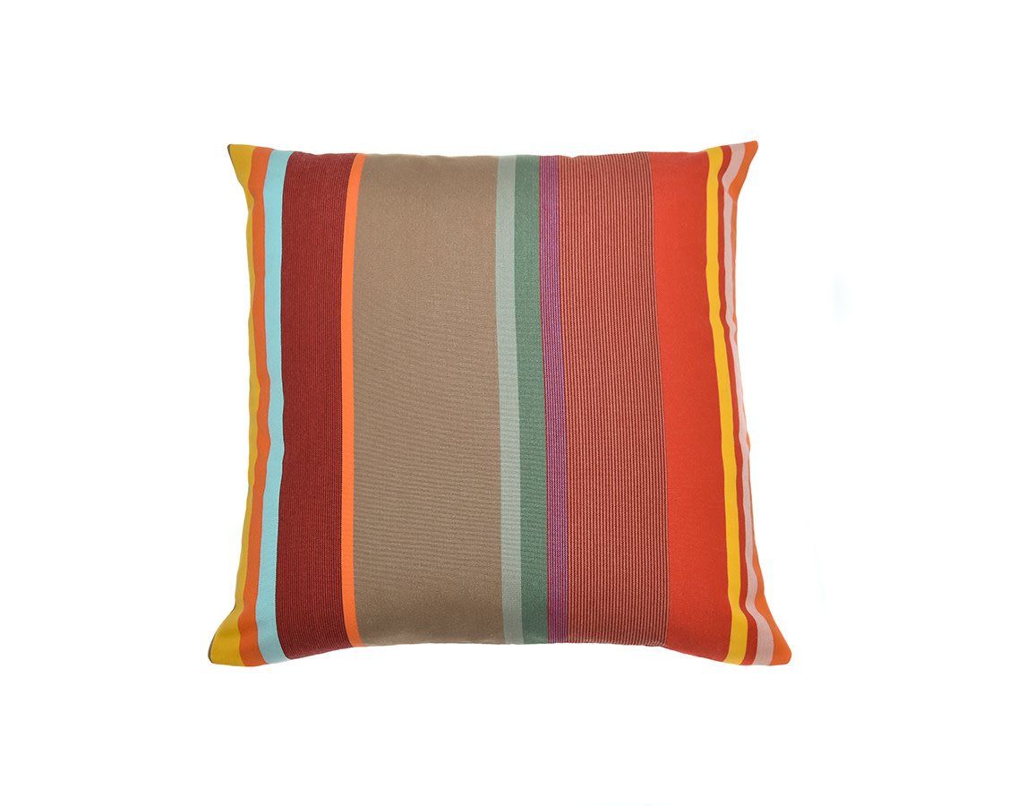 Kreatelier Summer Stripes Pillow in Red and khaki 18 x 18in
