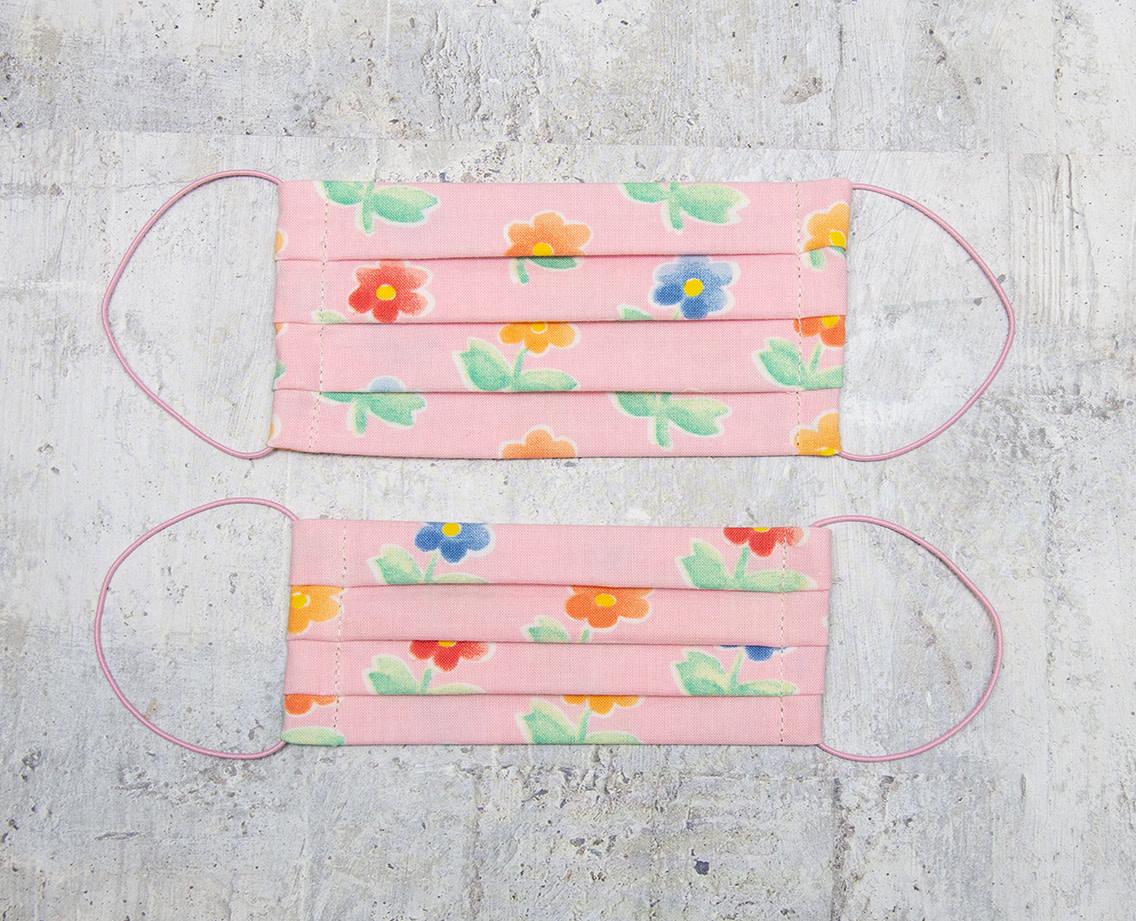 Kreatelier Small Children Face Mask Pink Flowers