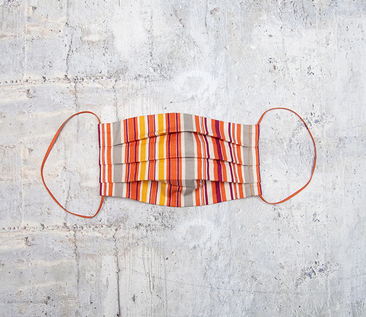 Kreatelier Small Children Face Mask Orange Stripe