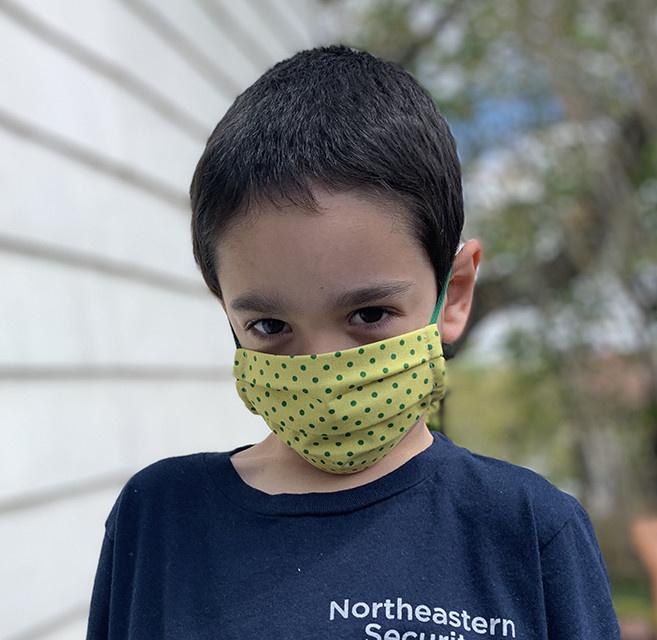 Kreatelier Big Children Face Mask Mint Seersucker