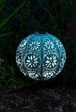 "Allsop Home and Garden Solar Lantern Boho Globe Mineral Green 12"""