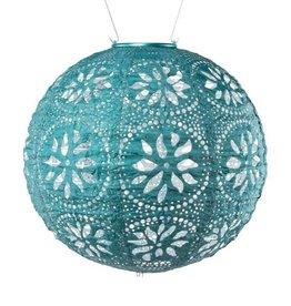 "Allsop Home and Garden Solar Lantern Boho Globe Mineral Emerald Green 12"""
