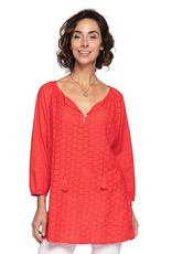 Rockflowerpaper Eyelet Red Peasant Top