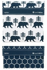 Lunchskins 2-Pack Reusable Bag Set Bear Charcoal (Velcro)