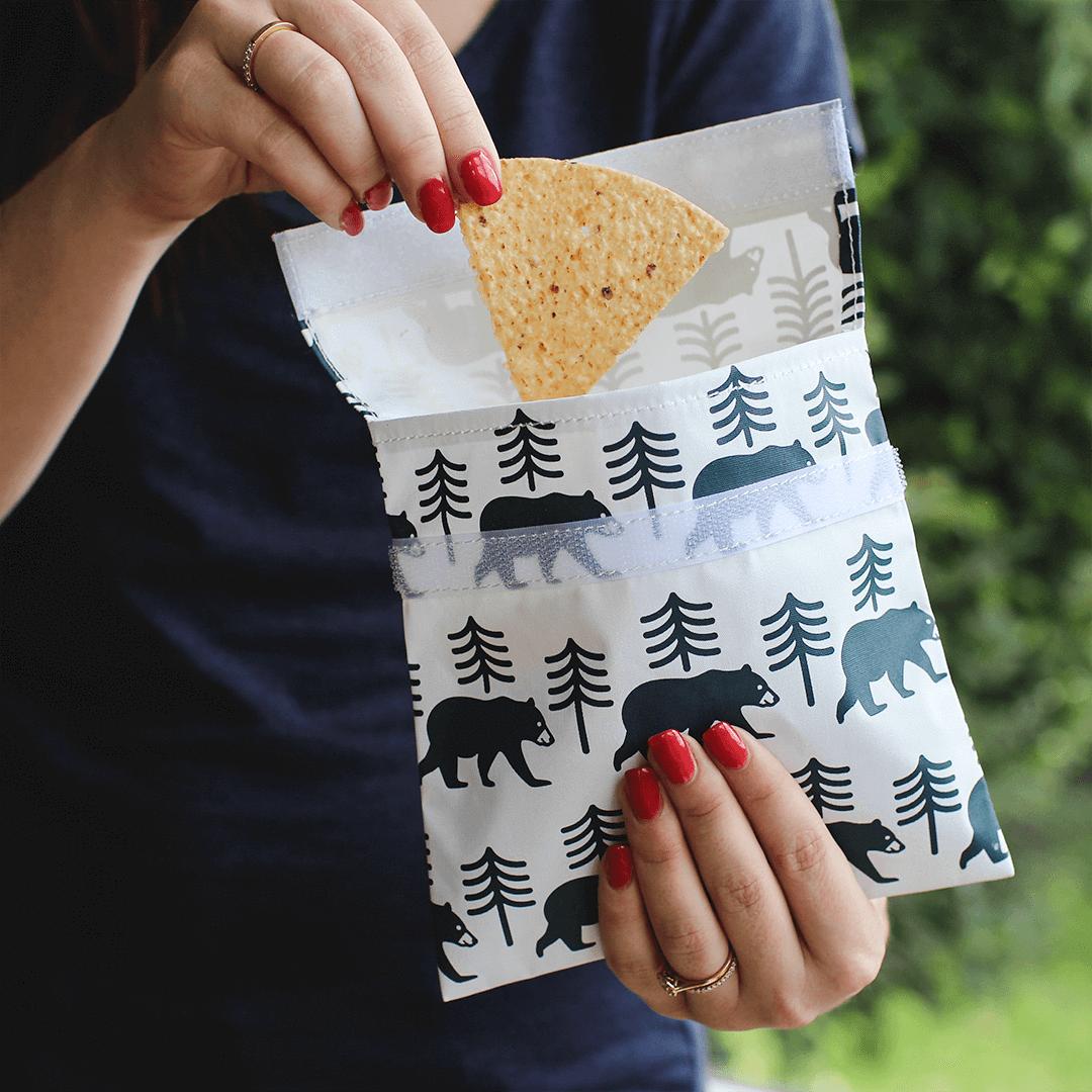 Lunchskins 2-Pack Reusable Bag Set Bear Charcoal (Velcro)