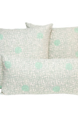 Kreatelier Grid with Dots Pillow in Gray and Green 18 x 18in