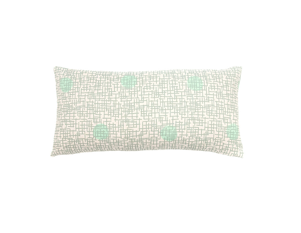 Kreatelier Grid with Dots Pillow in Gray and Green 20 x 10in