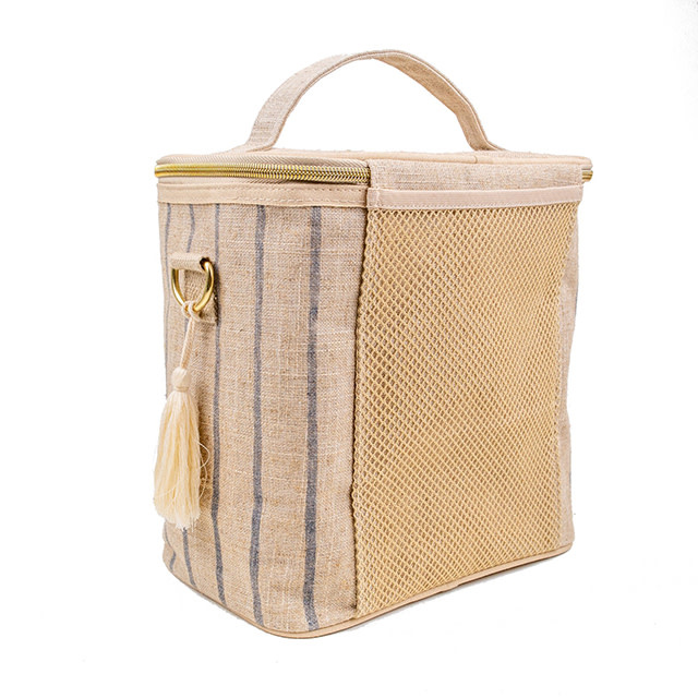 So Young Large Cooler Bag Poche Slate Pinstripe