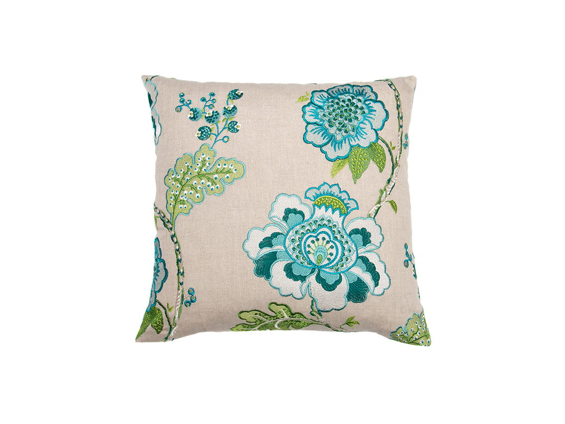 Kreatelier Embroidered Floral Pillow in Teal 18 x 18in