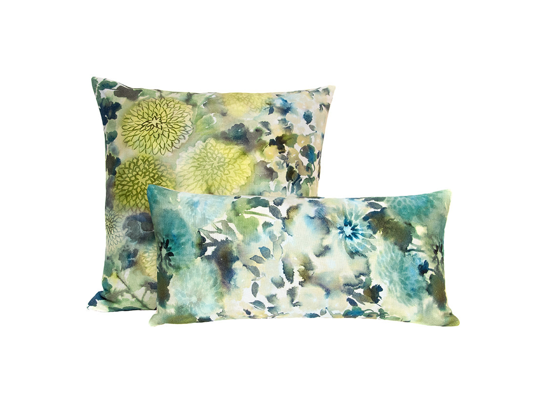 Kreatelier Summer Floral Pillow in Muted Greens 18 x 18in