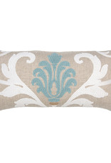 Kreatelier Floral Pillow in Turquoise and White with Blue Back 10 x 20in
