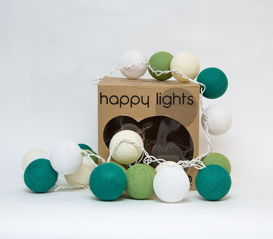 Happy Lights Happy Lights Box White and Greens