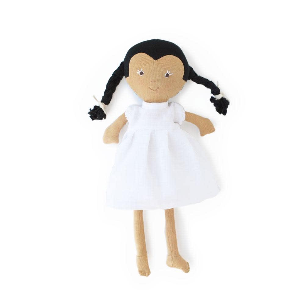 Hazel Village Doll Celia in Snowy White Linen Dress