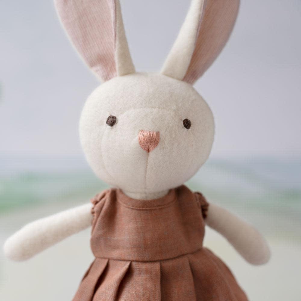 Hazel Village Stuffed Animal Emma Rabbit in Peach Linen Dress