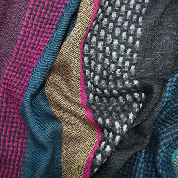 Dupatta Designs Darsie Scarf in Fuchsia, Teal and Navy