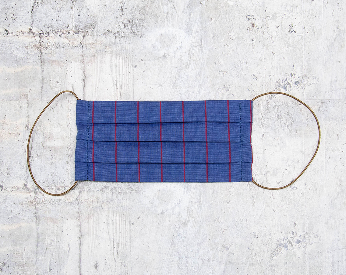 Kreatelier Face Mask Blue with Red Stripes