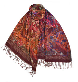 Dupatta Designs Irmina Scarf  in Red and Orange