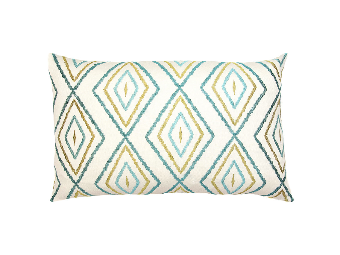 Kreatelier Embroidered Diamond Pillow in Blues and Olive 14 x 22in