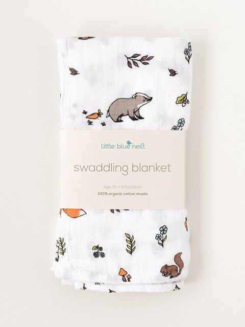 Little Blue Nest Swaddle Blanket Into the Woods