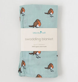 Little Blue Nest Swaddle Blanket Little Robin