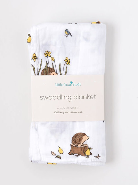 Little Blue Nest Swaddle Blanket Woodland